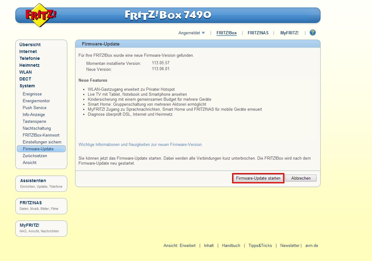 Fritzbox 7490 Update 6.83