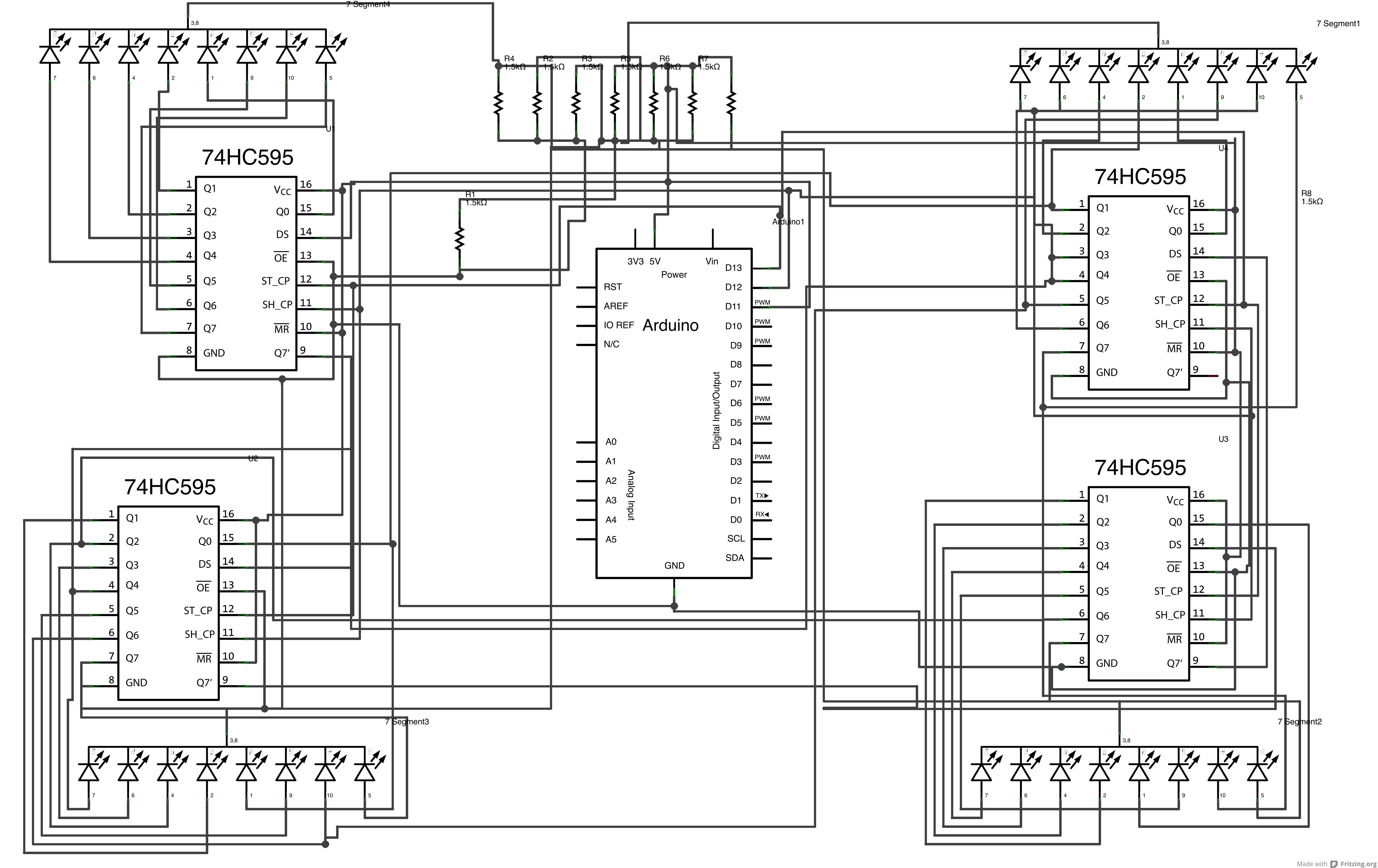 Arduino - 4fach 7-Segmentanzeige mit Schieberegister