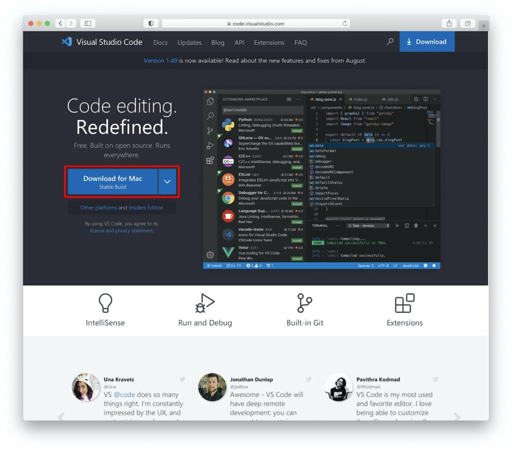 Visual Studio Code - Startseite mit markiertem Downloadbutton
